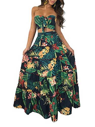 Tropical Print Skirt - Womens Strapless Wrap Chest Lace Up Floral Print 2 Pieces Maxi Long Dress M Green