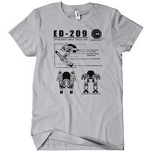 ED-209 Blueprint Omnicorp Mens T-Shirt Tee Robo 80s Cop Movie Weller New Robot