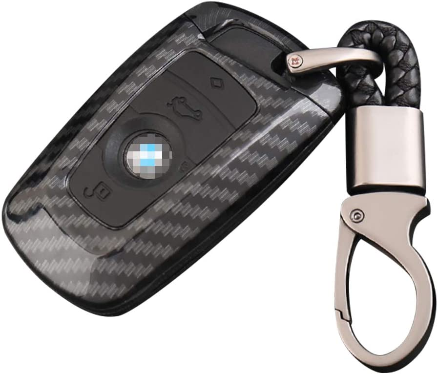 DZG Key Fob Holder Car Key Fob Case Remote Cover Fob Protector with Keychain for BMW