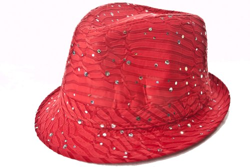 Sparkle Glitter Fedora / Red / Red Hat Lady Society