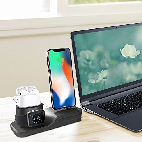 KEHANGDA 3 in 1 Charging Stand for iPhone AirPods Apple Watch Charger Dock Station Silicone,Support for Apple Watch Series 3/2/1/AirPods/iPhone X/8/8 Plus/7/7 Plus/6s Black by KEHANGDA (Image #6)