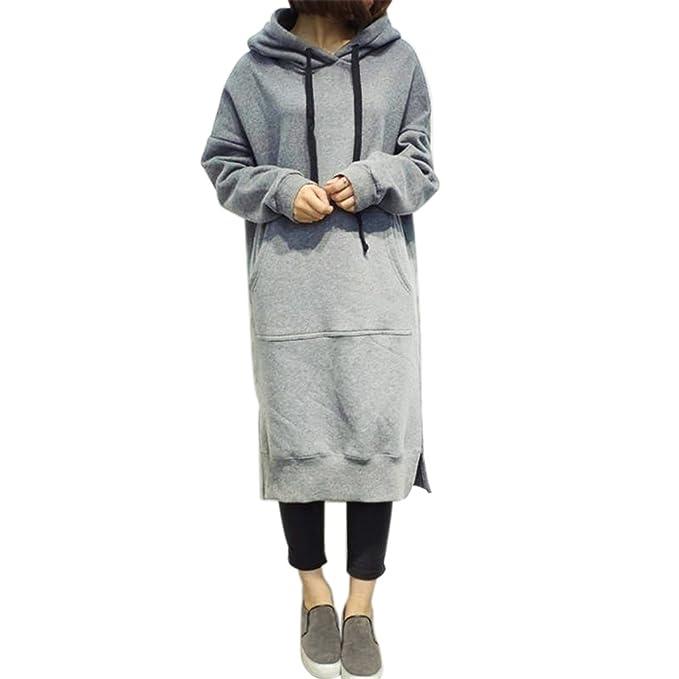 50df0e55398 Susada Women s Clothing Long Sleeve Loose Casual Plus Size Sweatshirt  Hoodies Long Maxi Dress (Gray