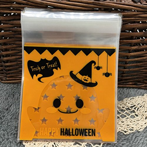 Saasiiyo 100Pcs Halloween Yellow pumpkin Gifts Bags Plastic Clear DIY Candy Cookies Birthday Party Craft Bags Packaging (Halloween Costumes Nyc Rent)