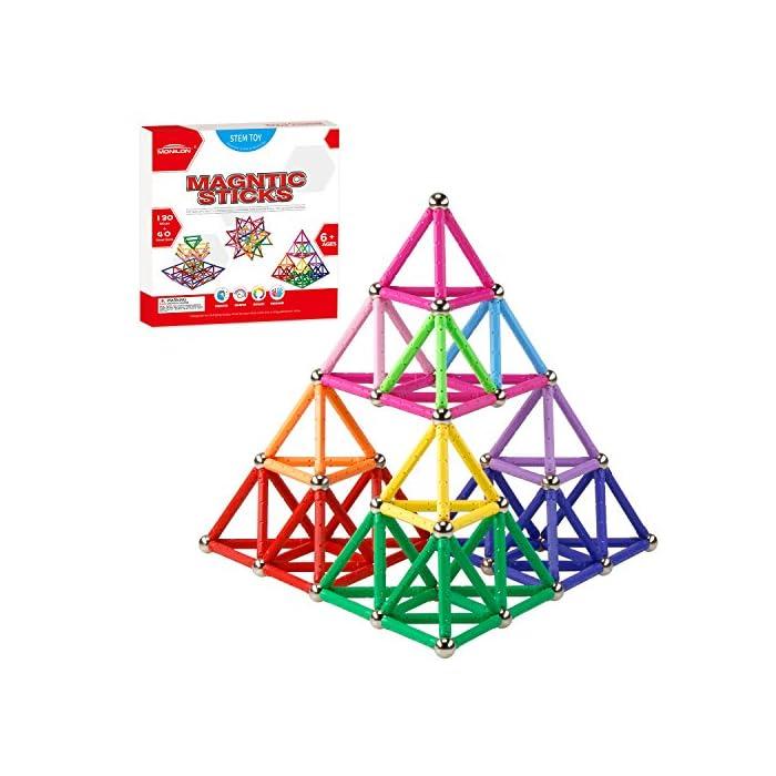 Monilon 160 Pcs Magnet Building Sticks Kids Toys Lengthen Magnetic