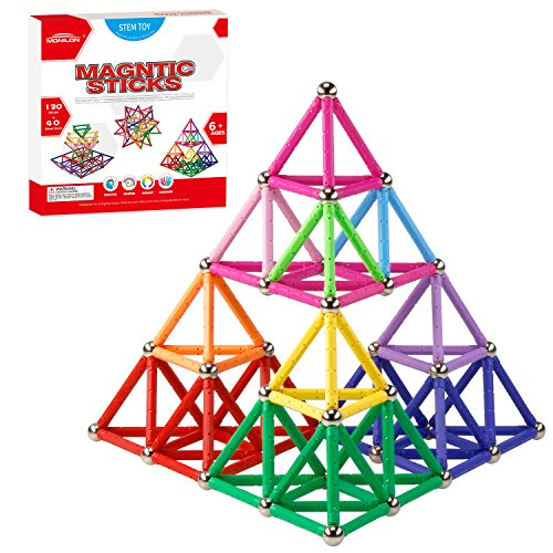 MONILON 160 Pcs Magnet Building Sticks Kids Toys, Lengthen Magnetic Construction Building Blocks Set 3D Brain Training Learning Educational DIY STEM Toys for Kids Boys Girls Age 5 6 7 8 9 10 Years Old