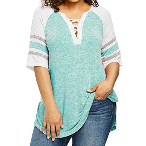 Postbound Top (Women Casual Top, Bandage ANJUNIE Plus Size Patchwork SexyT-Shirt Blouse(Green,L))