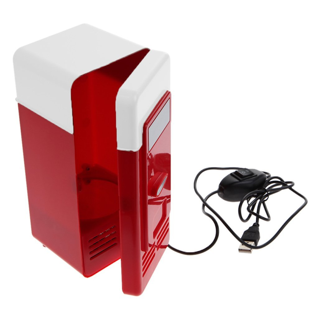 Desktop Mini USB Gadget, Beverage Cans Cooler Warmer Refrigerator Mini Fridge with Internal LED Light usb fridge