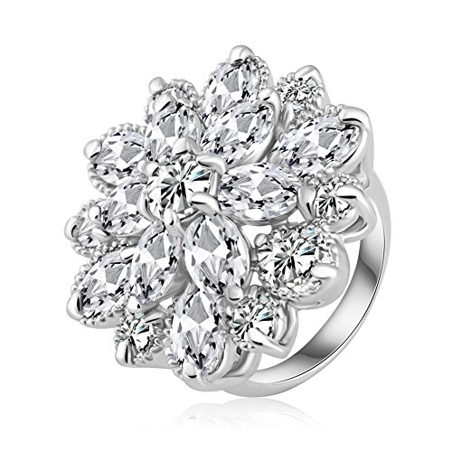 ABINA Noble Flower Shape Engagement Ring Silver Plated Cubic Zircon Rings 5.5