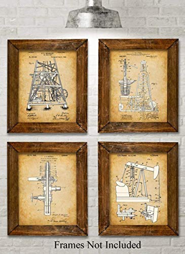 Original Oil Rig Patent Art Prints - Set of Four Photos (8x10) Unframed - Makes a Great Gift Under $20 for People in the Petroleum Business