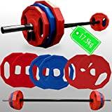BodyRip PREMIUM PRO Barbell Sets (Olympic or Standard or Studio Bar) | Polygonal Weight Plates | Curl, Press, Pullover | Strength Training, Home Gym, Fitness Exercise, Weight Lifting, Fat Loss, Crossfit, Calisthenics (Pump Set 17.5kg)