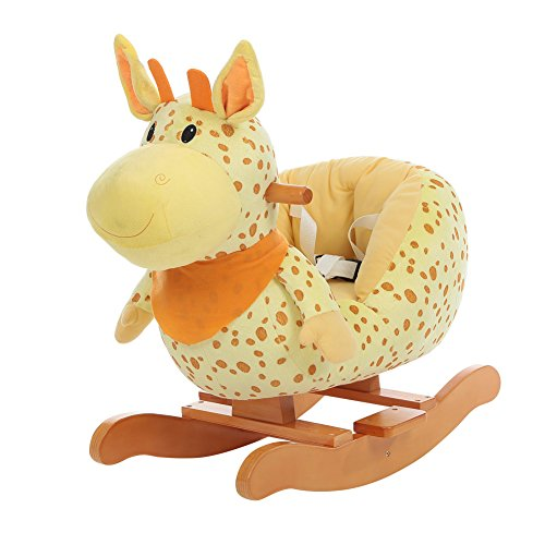 - labebe Wooden Rocking Horse for Toddlers, Boys & Girls Ride-on Toys for 1-3 Years Old, High Rack Stuffed Animal Seat, ASTM/CE/ Safety Certified, Creative Birthday Gift - Yellow Giraffe
