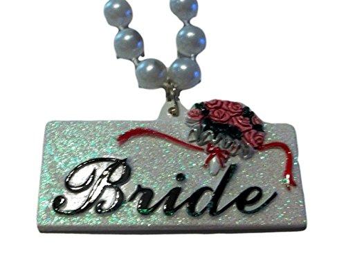 Bride Pearl Rose Bouquet Wedding Shower Mardi Gras Necklace Beads (Mardi Gras Roses)