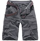 Winwinus Men's Fine Cotton Plus Size Washed Cargo Work Walk Shorts Grey 31