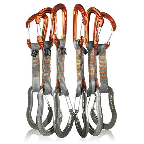 Fusion Climb 6-Pack 11cm Quickdraw Set with Contigua Orange Wire Gate Carabiner/Techno Zoom Gray Wire Gate Carabiner by Fusion Climb