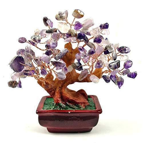 NYKKOLA Mix Gem Stone Money Amethyst Rose Citrine Carnelian Clear Quartz Feng Shui Plants & Flowers Artificial Trees Purple