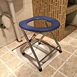 WURE Stainless steel folding squatting stool moving toilet sitting chair old man sitting toilet pregnant woman bath chair