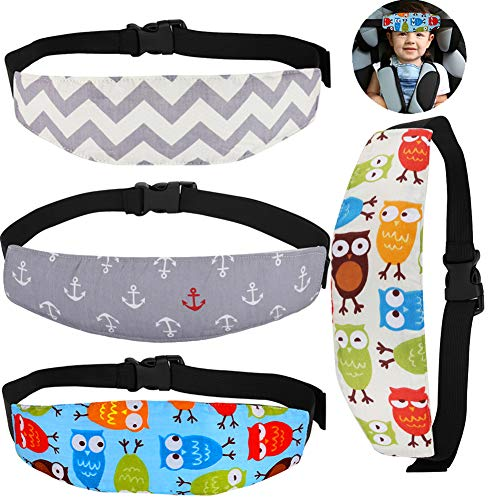 Head Strap for Carseat/Toddler Car Seat Baby Head Support/Neck Relief Head Strap, Offers Protection for Toddler Baby 4 Packs(Grey & OWL)