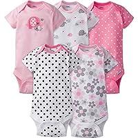 Gerber Baby Girls' 5 Pack Onesies, Elephants/Flowers, 3-6 Months