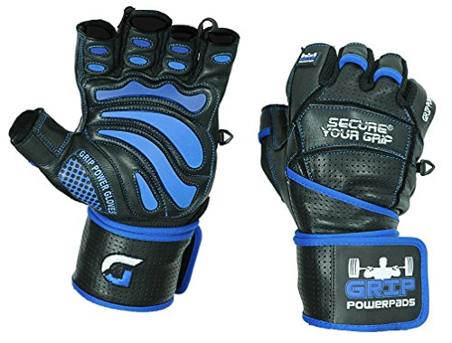 Grip Power Pads Elite Leather Gym Gloves with Built in 2
