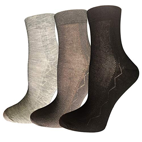 Ultra Thin Summer Cotton Socks for Men Breathable Diabetic Dress Socks Ankle Length 3 Mix Pairs in Pack (mixed, ONE SIZE FITS ALL)