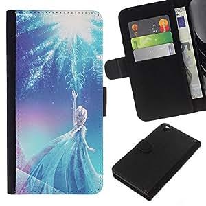 KLONGSHOP // Tirón de la caja Cartera de cuero con ranuras para tarjetas - princesa hada azul de invierno de los niños - HTC DESIRE 816 //