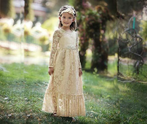 CQDY Lace Flower Girl Dress Long Sleeves Wedding Princess Dresses