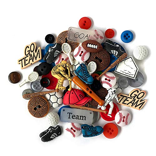 (Buttons Galore and More Collection Round Novelty Buttons & Embellishments Based on Variety of Themes, Holidays and Seasons for DIY Crafts, Scrapbooking, Sewing, Cardmaking and Other Projects - 50 Pcs)