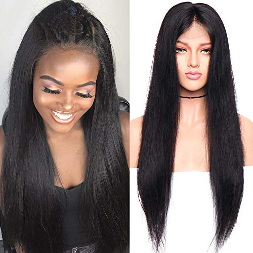 Glueless 13x6 Lace Front Wigs 100% Brazilian Human Hair Silky Straight Front Lace Wigs With Baby Hair Pre Plucked Deep Part Natural 1B Black For Black Women 18inch 130% Density