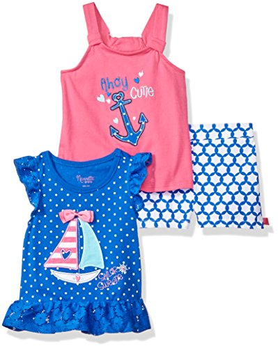 Nannette Baby Girls' 3 Piece Knit Tops and Printed Short Set, Blue, (Printed Knit Short)