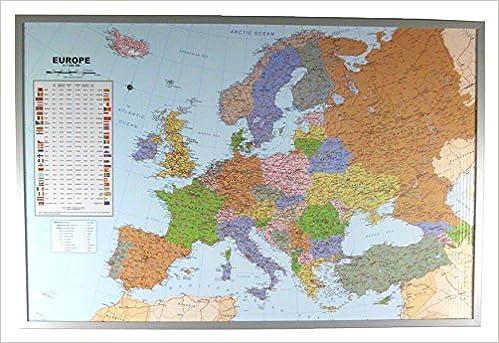 Politische Europakarte Auf Kork Pinnwand Englisch 90x60cm