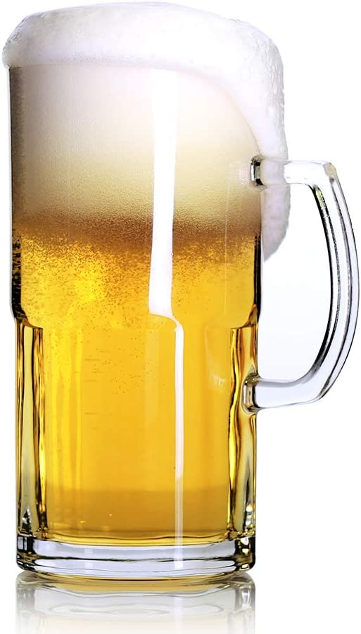 Style Extra Large Beer Mug 34 Ounce,Large Glass Mugs With Handle,One Liter German Beer Stein Super Mug (34 oz)