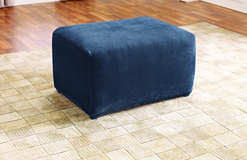 Sure Fit SF45545 Stretch Pique Oversized Ottoman Slipcover, Navy