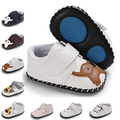 Baby Boys Girls Shoes Toddler Moccasins Soft Sole PU Leather Cartoon Slippers Crib Infant Shoes(13cm,12-18months,A-White Elephant