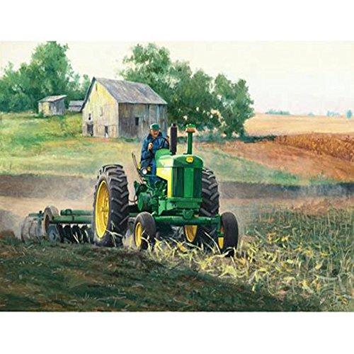34x44cm Diamond Painting Tractor Pasture 5D DIY Tractor Diamond Embroidery Full Square Cross Stitch Mosaic Rhinestone Green Tractors Farm Landscape