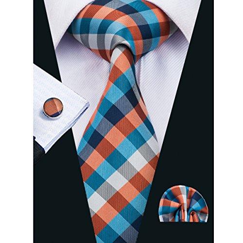 Hi-Tie New Design Plaid Necktie Set for - New Square Pocket Mens