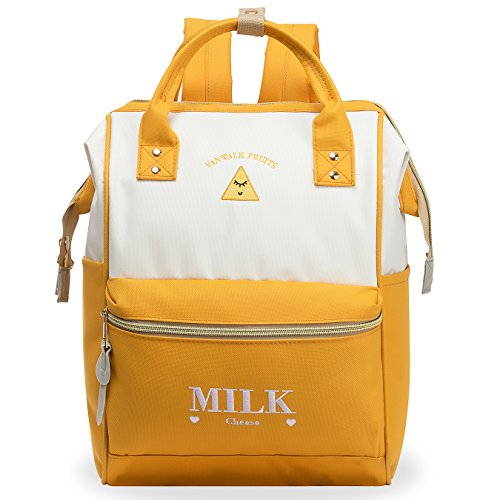 ZOMAKE Casual Travel Backpack, Diaper Bag Laptop Daypack Stylish School Backpack for Women & Girls, with Wide Doctor Style Top Opening(Ginger) ()