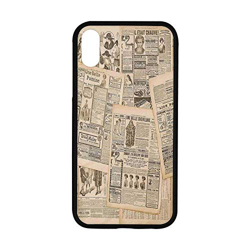 (Antique Decor Rubber Phone Case,Newspaper Pages with Advertising and Fashion Magazine for Woman Edwardian Publicity Image Compatible with iPhone XR)