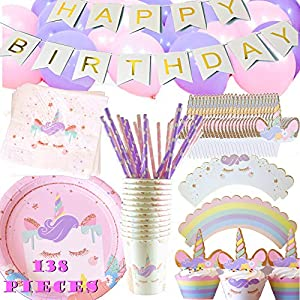 Unicorn Party Supplies Set Birthday - Plates, Cups, Napkins, Balloons, Paper Straws, Cupcake Wrappers and Toppers, Happy Birthday Banner - Set for 12 Guests - Cute Birthday Party Kit