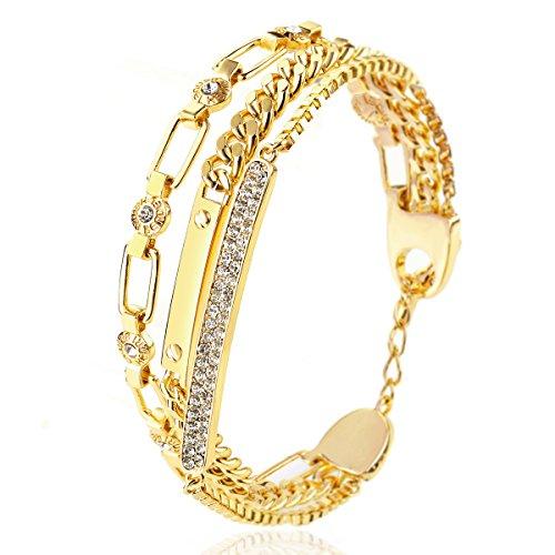 RYTHUN Rose Gold Rhinestone Charm Love Anniversary Gift Cuff Bracelet String Bangle Women