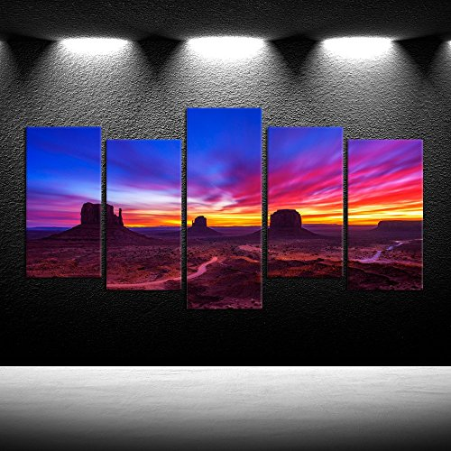 iKNOW FOTO Large 5 Pieces Canvas Prints Wall Art Dramatic Sunrise Over Monument Valley in Arizona USA Photography Giclee Printing Stretched and Framed Ready to Hang for Walls (Large 60x32inch) - Monument Valley Usa Framed