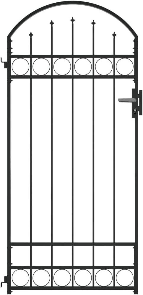 vidaXL Cancela de Valla Sencilla Individual Puerta de Jardín Entrada Exterior con Forma de Arco de Acero Negro 1x2 m