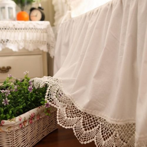 Shabby Bedskirt (Swanlake Shabby and Victorian Style White Wide Lace Cotton Bed Skirt 1117 (Queen))