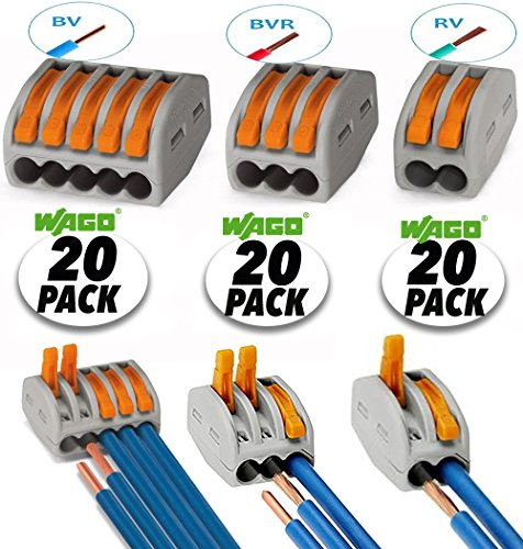 Wago 2 Port (20) 3 Port (20) 5 Port (20) Lever-Nut Assortment Pack Conductor Compact Connector Terminal Block Wire Push Cable Connector 12-28 AWG, 32A (Pack Assortment Sign)