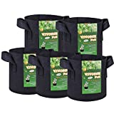 VIVOSUN 5-Pack 3 Gallons Heavy Duty Thickened Nonwoven Fabric Pots Grow Bags with Handles