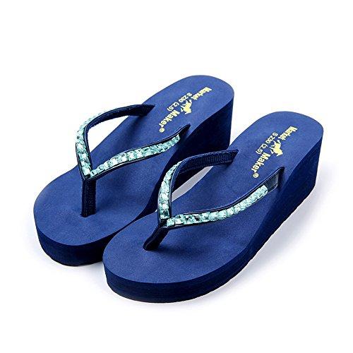 Vertvie Damen Flip-Flops High heel Strand Schuhe Keil Plattform Glitzer Sandalen Rutschfest Hausschuhe Blau