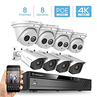 Amcrest 4K Security Camera System w/ 4K 8CH PoE NVR, (8) x 4K IP67 Weatherproof Metal Turret Dome & Bullet POE IP Cameras, 2.8mm Lens, Hard Drive Not Included, NV4108E-T2499EW4-2496EW4 (White)
