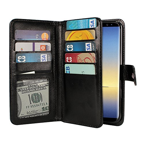 Wallet Flap Double (NEXTKIN Galaxy Note 8 Case, Leather Dual Wallet Folio TPU Cover, 2 Large Pockets Double flap Privacy, Multi Card Slots Snap Button Strap For Samsung Galaxy Note 8 Note8 N950 6.3 inch - Black)