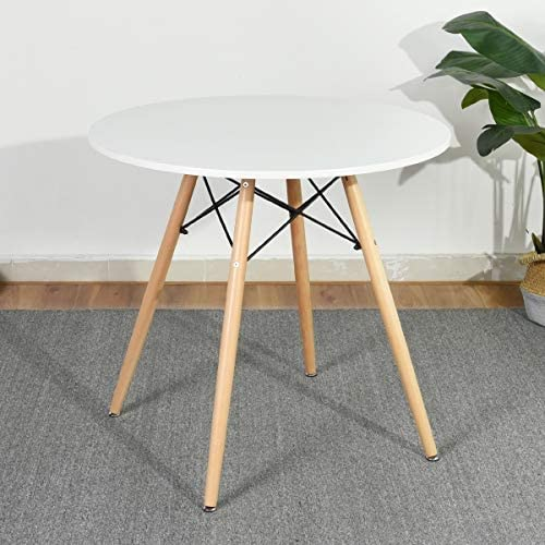 Amazon Com Homy Casa Dining Table Round Coffee Table Mid Century Modern Kitchen Table Solid Wood Desk White Chad Tables