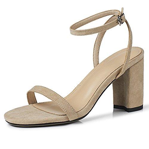 Beige Ankle Open Heels Women Suede Sandals Heeled Mid Summer Strap Toe Alnice Block 7dWCCf