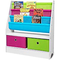 Children Sling Bookshelf Bookcase with 2 Canvas Toys Storage Boxes Wood Book Display Rack Shelves Stand for Baby Nursery Room Bedroom